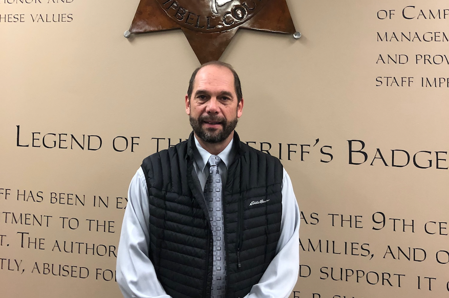 Campbell County Sheriff Scott Matheny poses at the CCSO during an interview about the 24/7 program