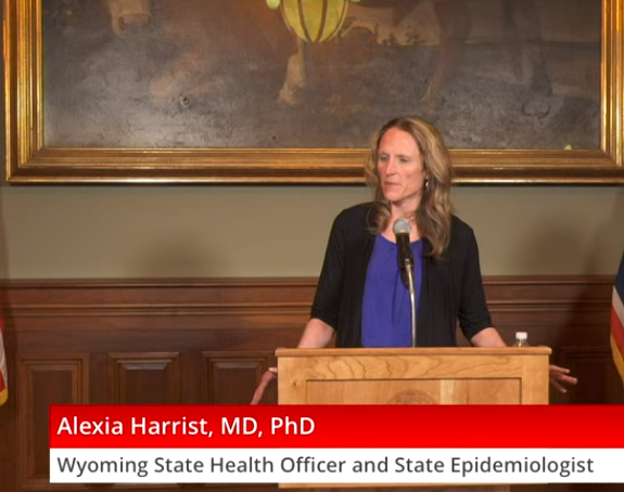 Dr. Alexia Harrist, Wyoming state health officer and state epidemiologist, briefs the public on the latest COVID-19 news at an April 8 press conference.