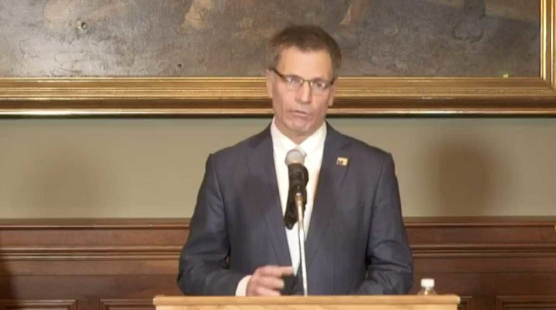 Gov. Mark Gordon at press conference on the state's ongoing COVID-19 response Friday, April 3. H/t Cowboy State Daily.