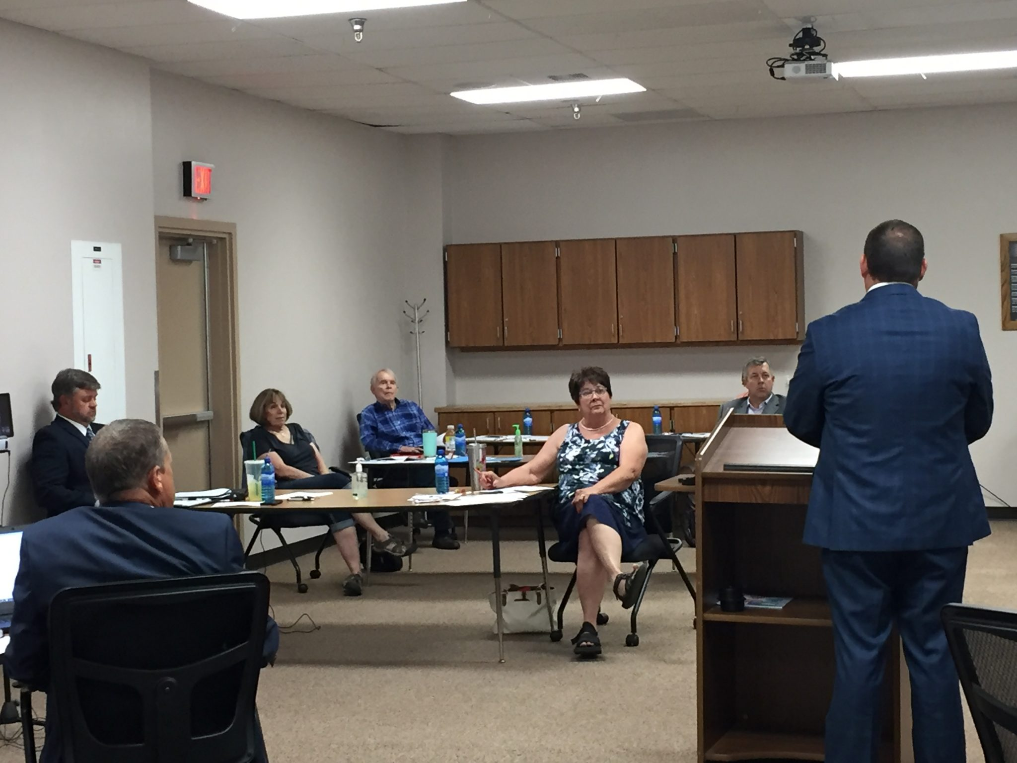 The CCSD Board of Trustees listens to presentation of school reopening plan during their workshop meeting yesterday.