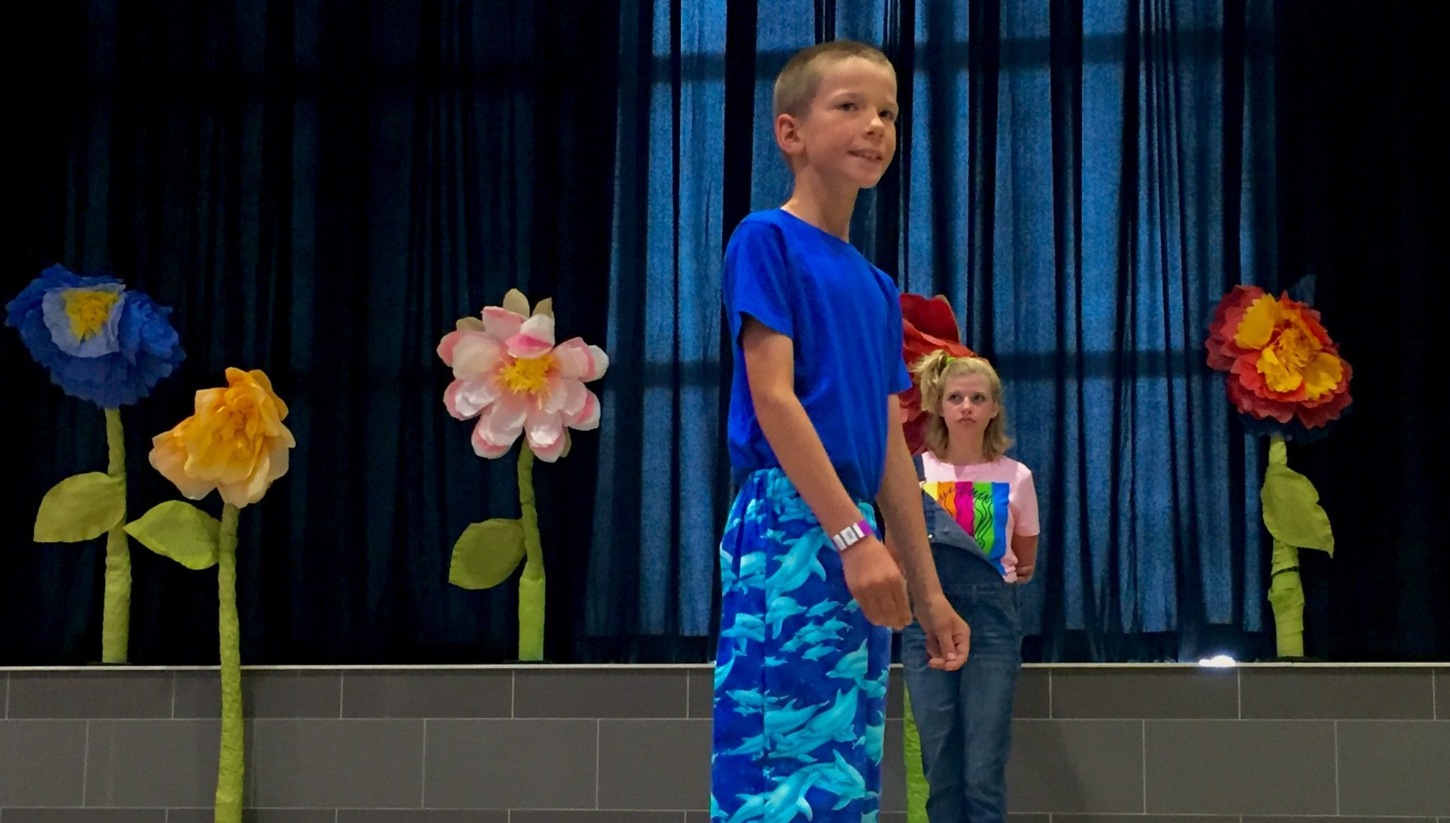 First-year 4-H member Ben Hudson sports his new pants around the Style show stage Wednesday afternoon.