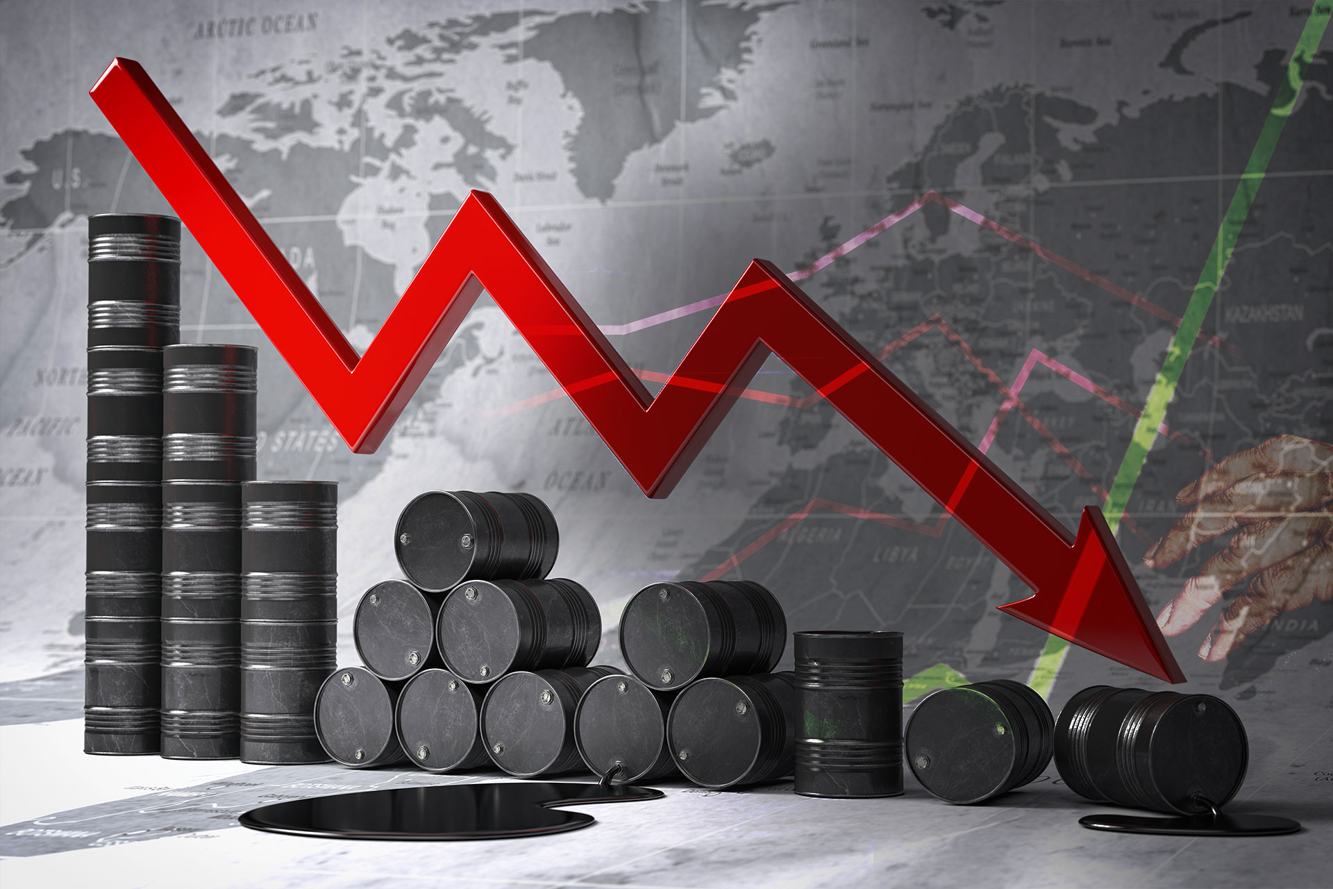 Crisis in oil and petroleum industry. Oil barrels and falling graph on world map background. Oil price or production decrease concept. Green line moving up placed over top.