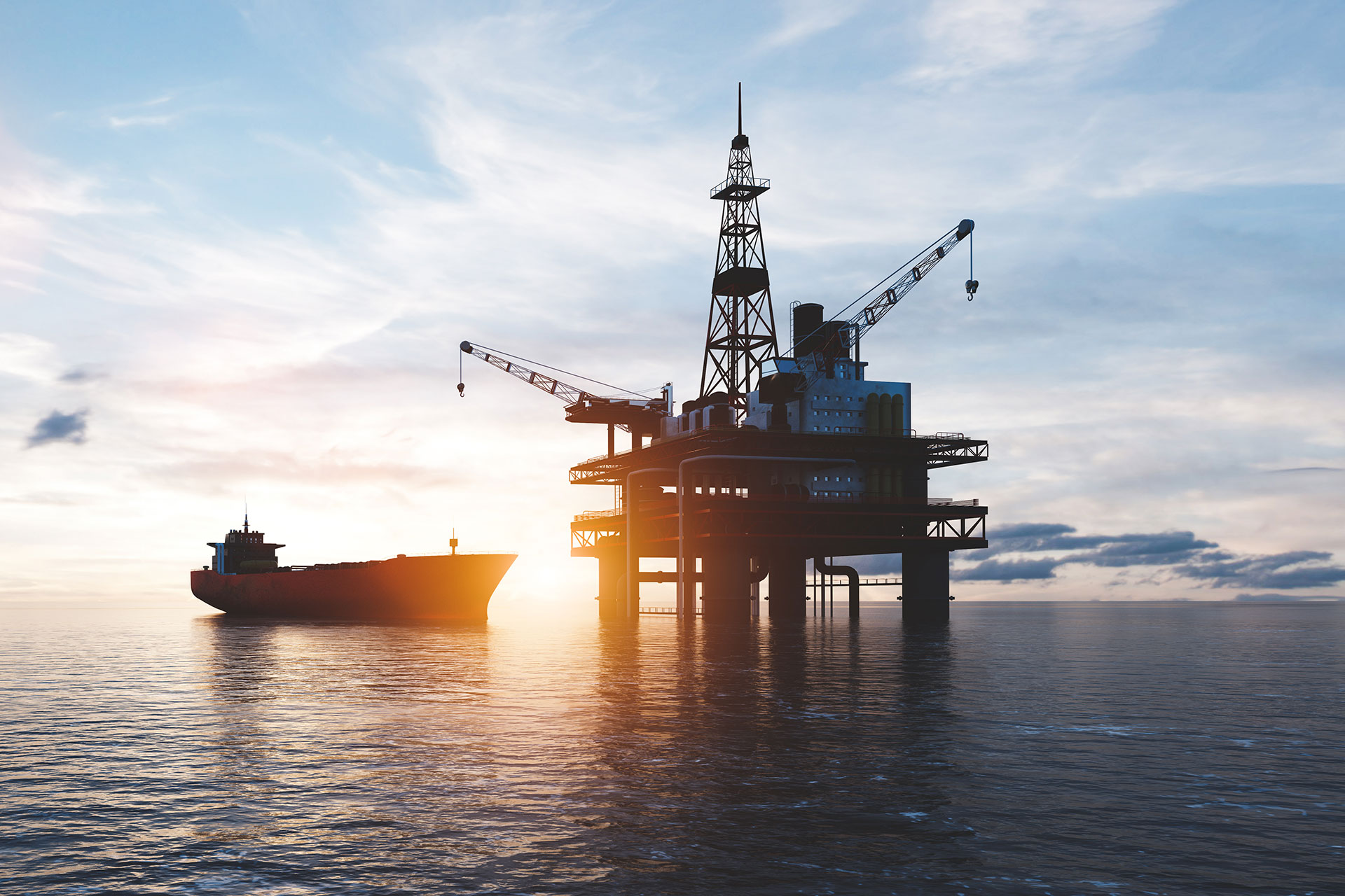 Oil platform on the ocean. Offshore drilling for gas and petroleum or crude oil.