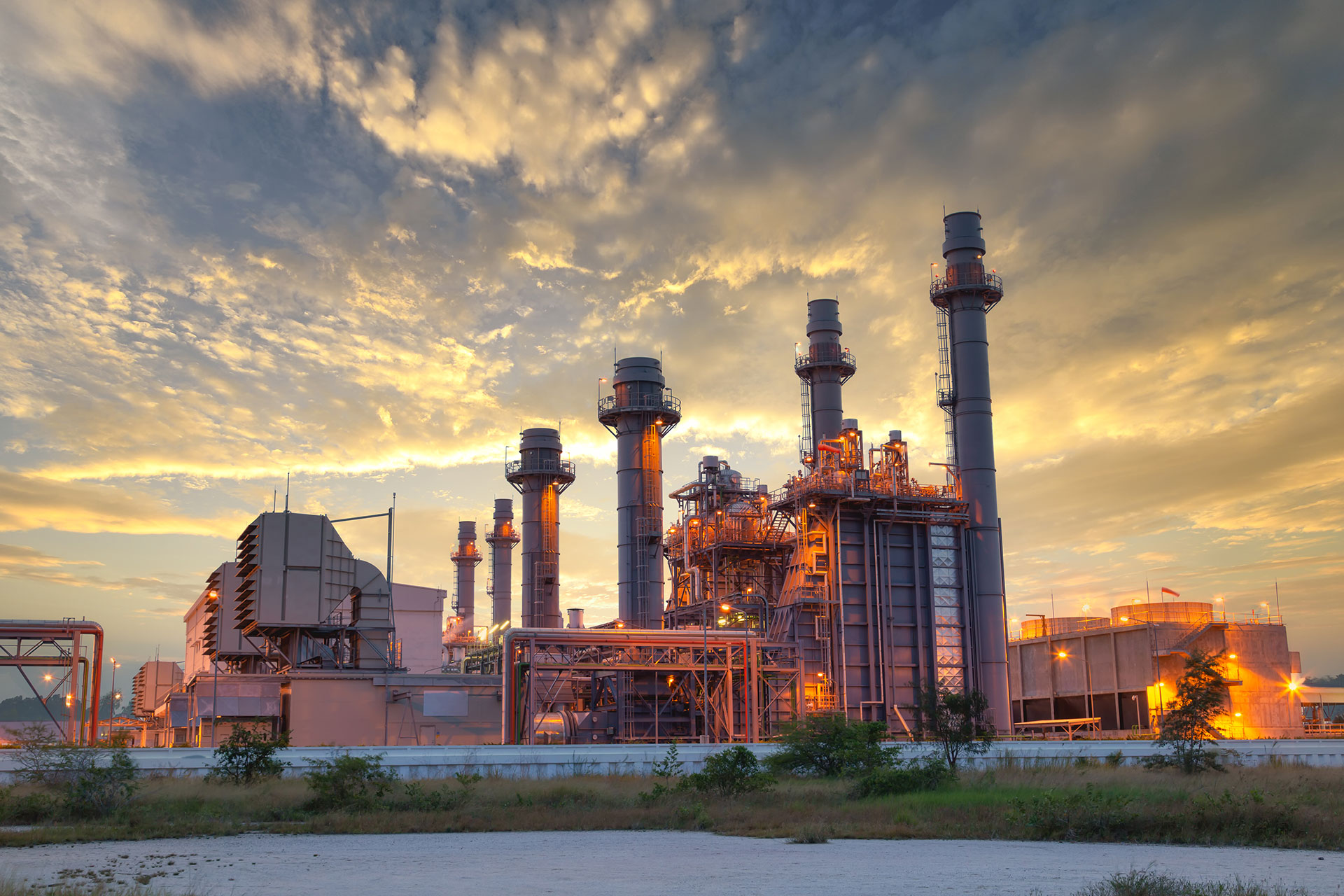 Stock Photo: Power plant Energy power station area, Gas turbine electrical power plant during sunset and twilight time