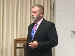 Sen. Troy McKeown addressing attendees at a town hall event in Gillette in 2020. (file photo)