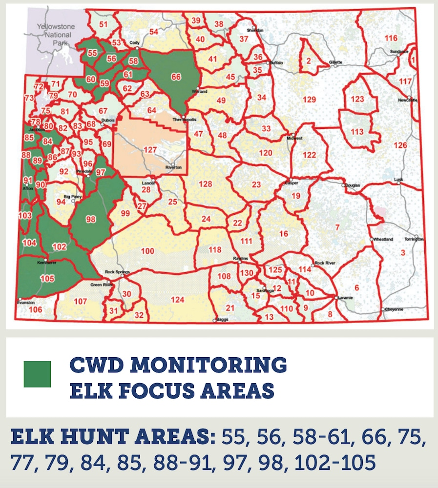 Game and Fish is asking successful elk hunters in the 2020 CWD monitoring elk focus areas to get their elk tested. (H/t Wyoming Game and Fish Department)