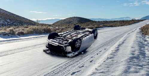 single-vehicle rollover on icy roads