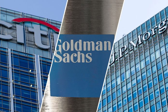 Citigroup building in Canary Wharf, London; Goldman Sachs, New York; J.P. Morgan building in Canary Wharf, London (stock images)