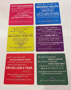 Uprising uses songs to spread their message on coasters.