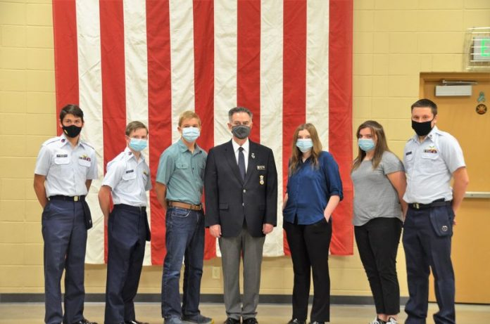 Five local Civil Air Patrol cadets were promoted on Monday, October 26, 2020. (From left to right) cadets include: Bryan Hetler, Ian Schofield, Sam Capron, Col. Rick Fawcett, Sarah Dejong, Valerie Dejong and Kaedin Baker.