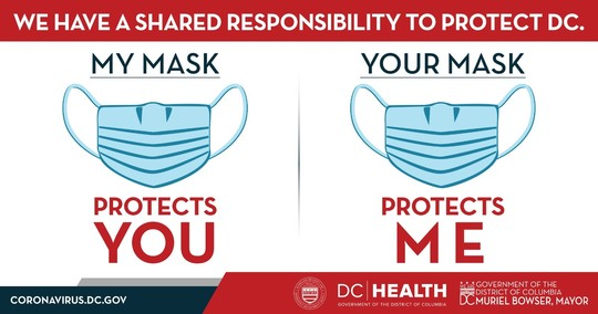 An illustration encouraging people to wear masks. (Courtesy of DC Government Department of Health, Mike Licht/Flickr, Creative Commons)