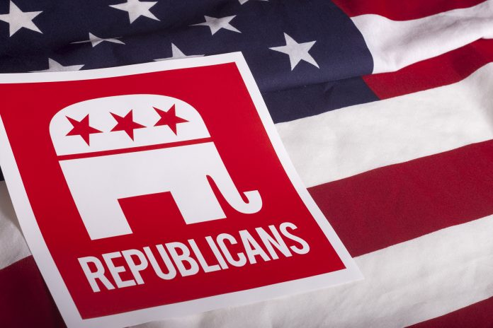 Republican illustration on American flag.