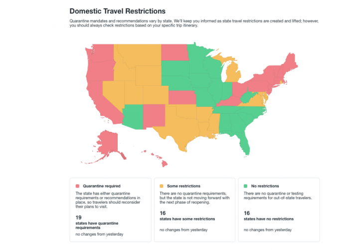 States with domestic travel restrictions (graphic courtesy kayak.com)