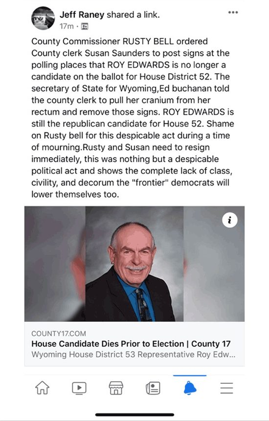 A screenshot of a Facebook post made by Jeff Raney making allegations against two Campbell County elected officials.