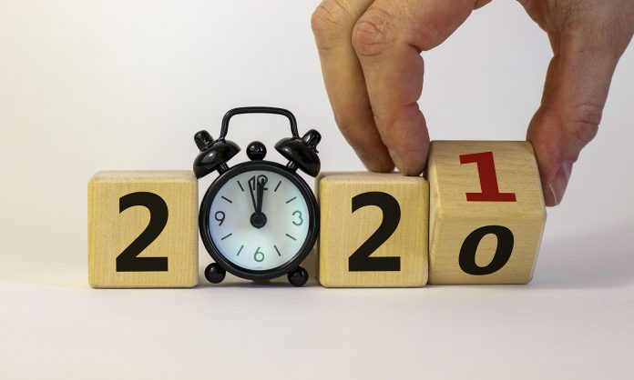 Stock Image: Changing blocks from 2020 to 2021.