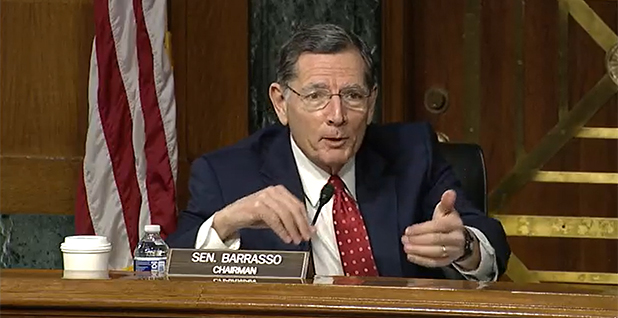 Senate Environment and Public Works Chairman John Barrasso (R-Wyo.) during a markup of nuclear legislation this morning. (Courtesy Environment and Public Works Committee)