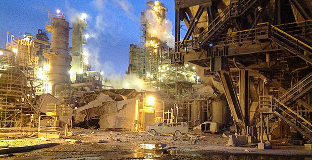 The 2015 explosion at Exxon Mobil Corp.'s Torrance, Calif., refinery. (Courtesy of Los Angeles County Fire Department.)