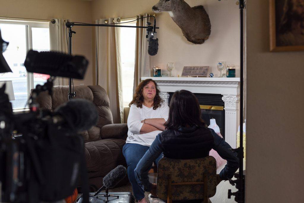 Shelley Horn crosses her arms during an interview with CNN in Gillette, WY. (Photo: County 17 / Brooke Byelich)
