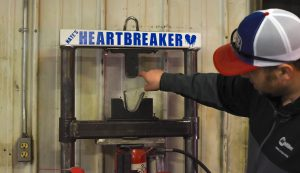 """""""Nate's Heartbreaker"""" is a machine used to manipulate welded parts to check for defects. (Photo: County 17/Brooke Byelich)"""