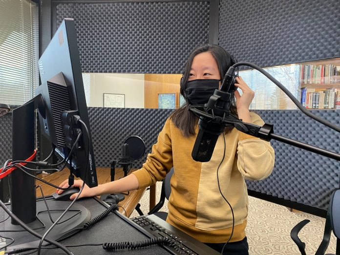 Campbell County Public Library Reference Librarian Kyouhee Choiberger demos cutting-edge technologies now available for public use at new state-of-the-art in-library Sound Lab.