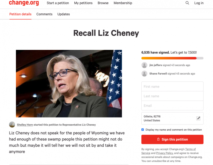 Gillette resident Shelley Horn has launched a petition to recall Liz Cheney, signaling the discontent of many voters throughout Wyoming.