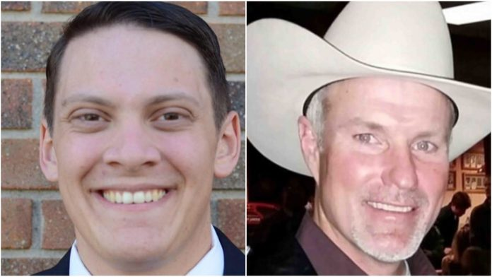 Rep. Landon Brown and Wyoming GOP Chairman Frank Eathorne (Photo: Cowboy State Daily)