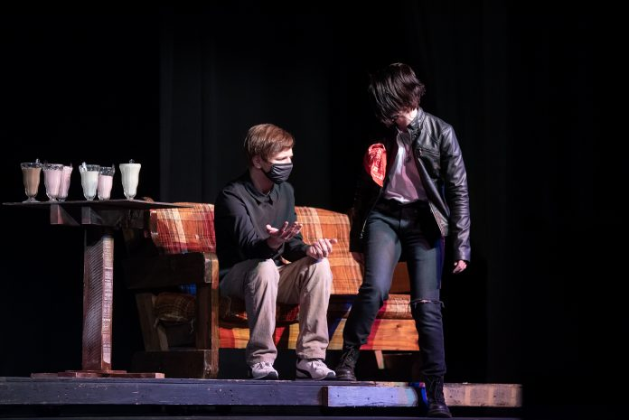 Tori Beck and Brenton Lucas rehearse an act from the play