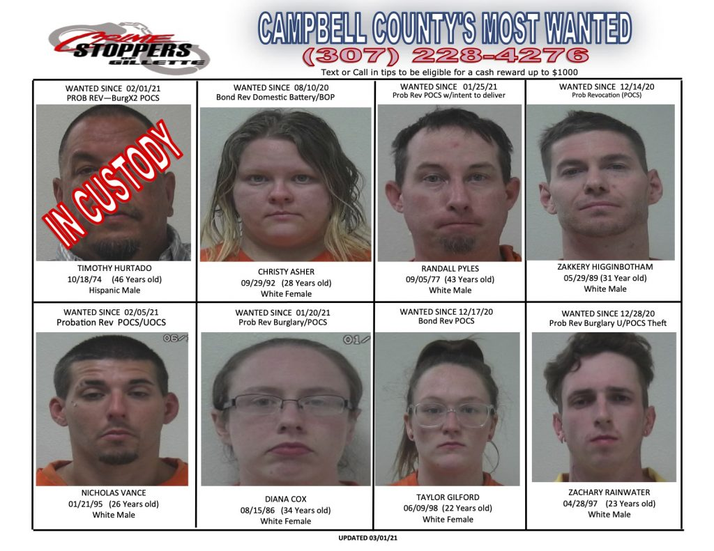 Campbell County's Most Wanted for March 1, 2021.