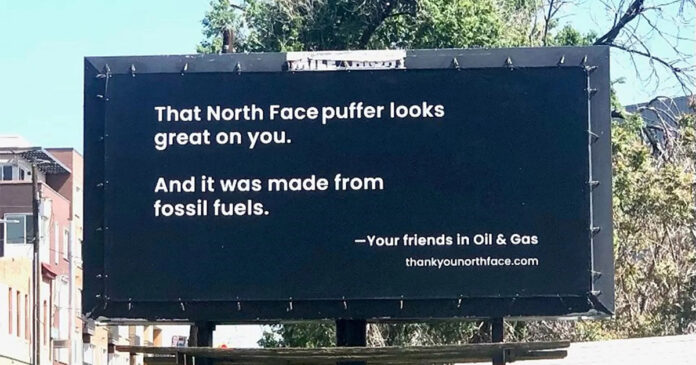 Liberty Oilfield Services billboard targeting The North Face