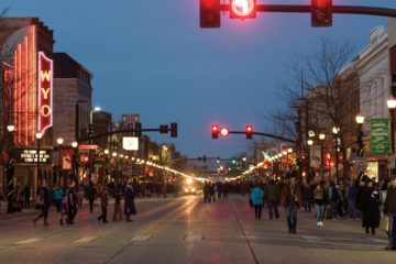 People attending the Sheridan Christmas Stroll